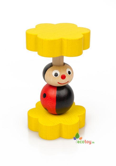 marienk fer holzrassel handgefertigtes holzspielzeug f r kleinkinder. Black Bedroom Furniture Sets. Home Design Ideas