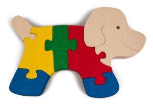 Holzpuzzle Hündchen öko Spielzeug aus Buchenholz für Vorschulkinder