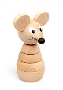 Steckspielzeug Mäuschen aus Buchenholz zum Stecken und Sortieren