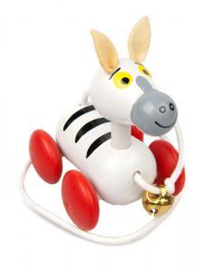 ziehtier zebra ist ein farbenfrohes holzspielzeug f r. Black Bedroom Furniture Sets. Home Design Ideas