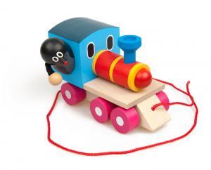 Ziehspielzeug Holzzug mit dem glücklichen Maulwurf aus Hainbuche und Ahorn