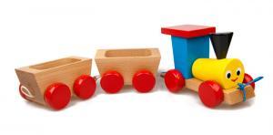 Ziehspielzeug glücklicher Zug aus Buchenholz