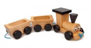 Ziehspielzeug klassischer freundlicher Zug aus Buchenholz für Kinder von 3 bis 6 Jahren