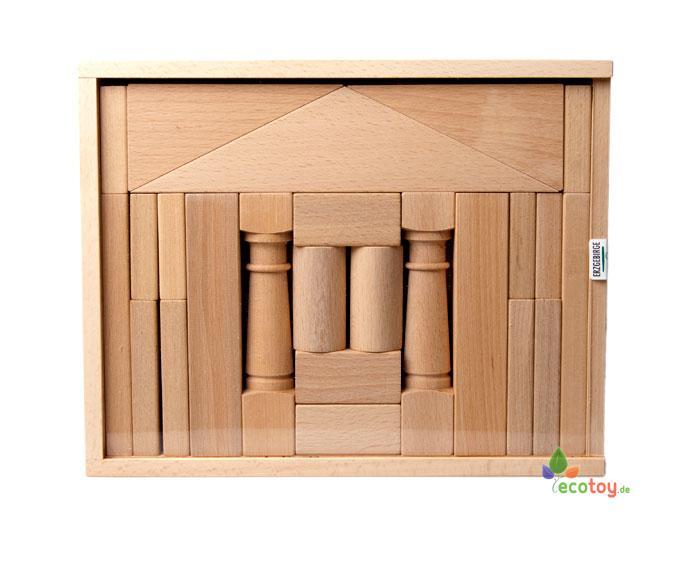 erzgebirgische holzbaukasten domizil 1 mit 24 holzbausteinen ab 1 jahr. Black Bedroom Furniture Sets. Home Design Ideas