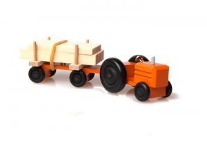 Mini-Traktor farbig Schnittholz - Holzspielzeug für Kinder ab 3 Jahren