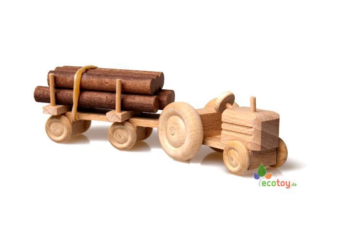 mini traktor natur langholz naturbelassenes holzspielzeug f r kinder ab 3 jahren. Black Bedroom Furniture Sets. Home Design Ideas