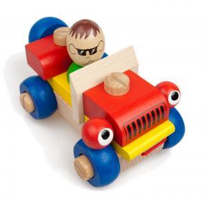 Ziehspielzeug zwinkerndes Steck-Holzauto mit beweglichen und abnehmbaren Teilen