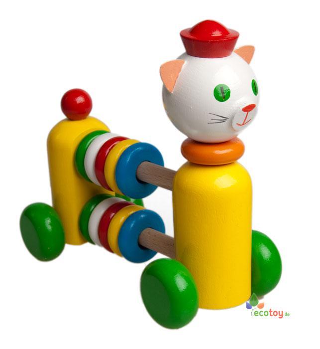 Spielzeug holzkatze mit rechenrahmen für kinder ab jahre