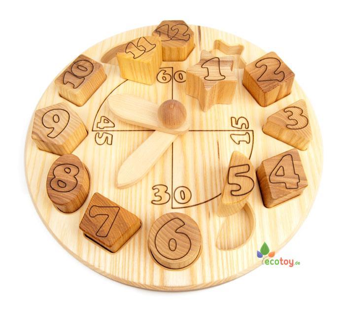 holzspielzeug montessori lernuhr mit 12 stecksteinen aus. Black Bedroom Furniture Sets. Home Design Ideas