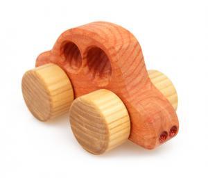 Holzauto Beetle, orange - ökologisches Holzspielzeug nach Waldorf Art für Kleinkinder