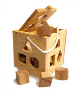 Öko-Steckwürfel - Montessori Holzspielzeug aus massivem Eschenholz