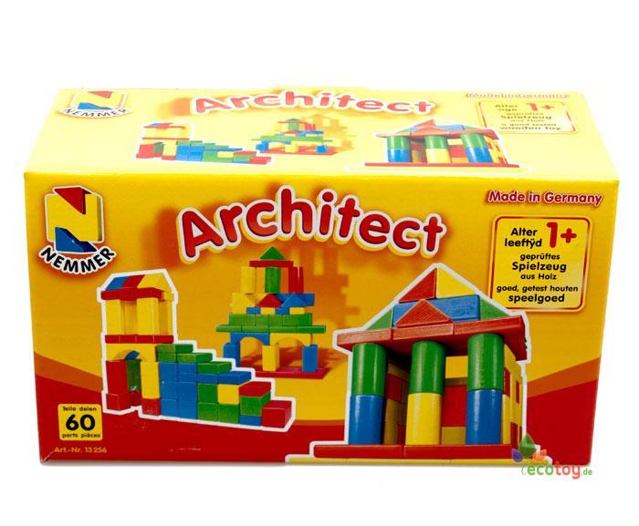 baukl tze architect bunt 60 st ck in verschiedenen farben und formen ab 1 jahr. Black Bedroom Furniture Sets. Home Design Ideas