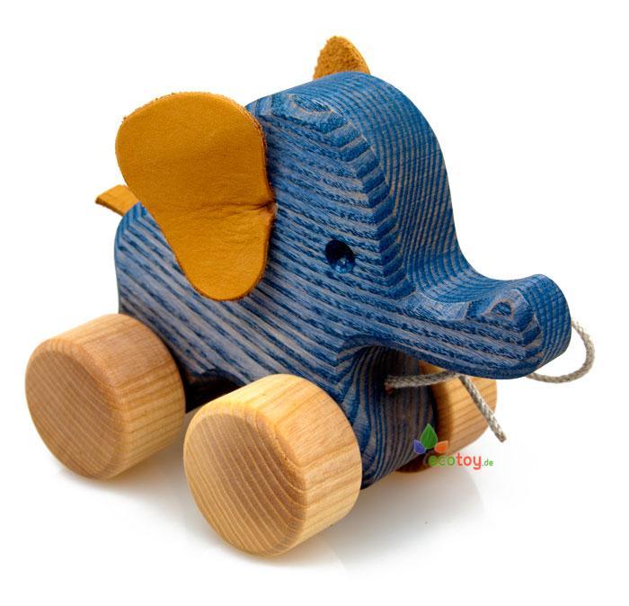 Holzspielzeug Öko elefant zum schieben und nachziehen
