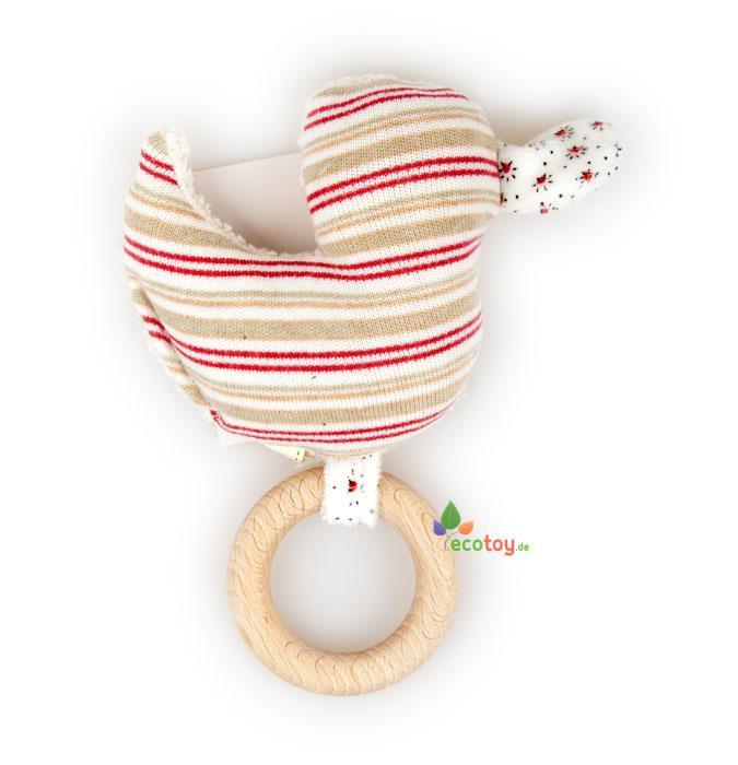 Ökologisches babyspielzeug ente mit holzring und rassel